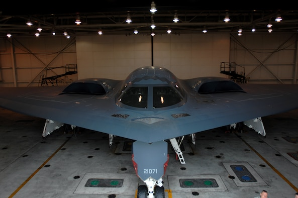 WHITEMAN AIR FORCE BASE, Mo. - A B-2 spirit sits in a hanger in preparation for maintenance, Oct 30. Twenty B-2 Spirit aircrafts are assigned to the 509th Bomb Wing. The B-2's primary mission is to attack time-critical targets early in a conflict to minimize an enemy's war-making potential. (U.S. Air Force photo/Senior Airman Kenny Holston)(Released)