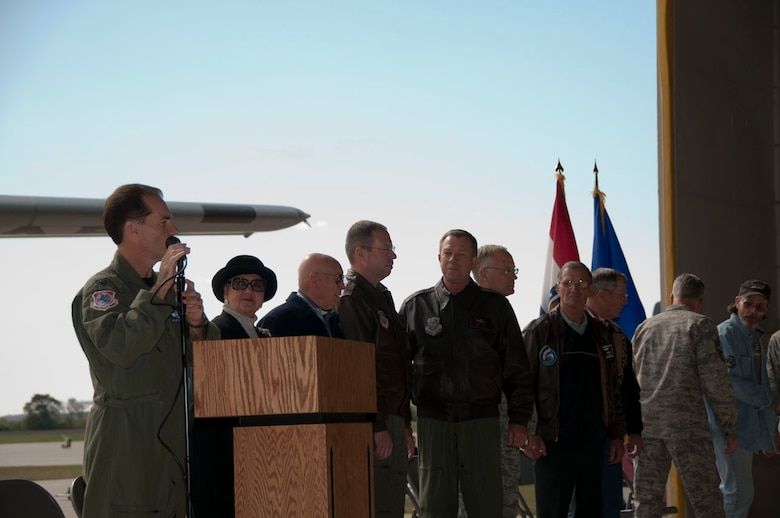 Col. Mike McEnulty, 139th Airlift Wing commander, introduces distinguished guests at the aircraft departure ceremony. Distinguished guests include; former 6th district representative Pat Danner-Meyer, Markt Meyer (former 180th pilot), Brig. Gen. John Owen, Brig. Gen. Stephen Cotter, Col. Andy Halter, Col. (RET) Ken Gabriel, Col. (RET) Gene Davenport.  Not shown; Senior Master Sgt. (RET) George Roberts (original crew chief for aircraft 1396), A1C Chris Prygron (Newest flight line crew chief).  (U.S. Air Force photo by Airman 1st Class Sheldon Thompson)