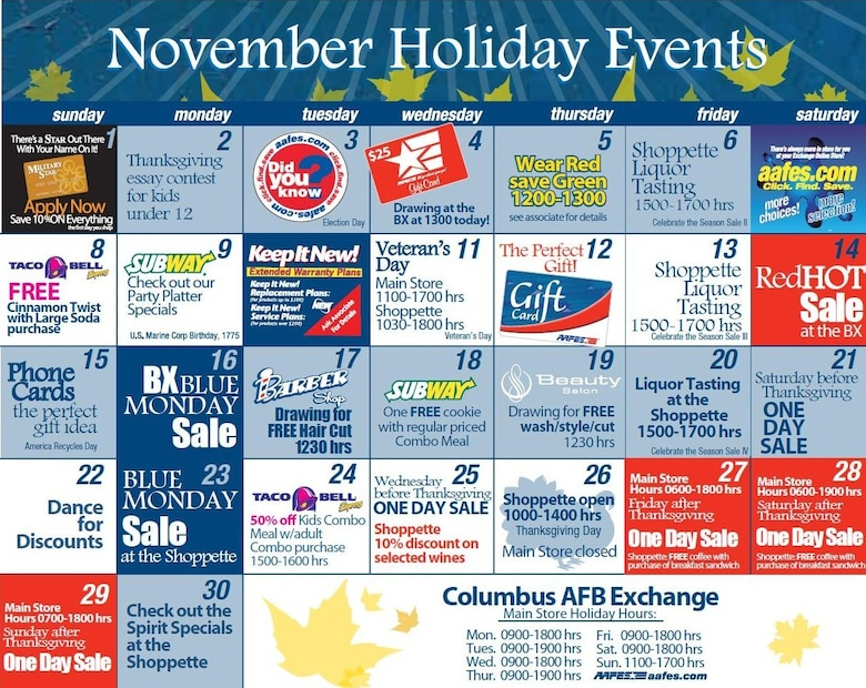 Monthly AAFES calendars with daily specials will now be posted on the Columbus AFB website, www.columbus.af.mil  and run space available in the Silver Wings newspaper. (U.S. Air Force Photo/Sonic Johnson)