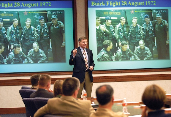 Retired Col. Charles B. DeBellevue — the highest scoring American ace in Vietnam and the last Air Force ace on active duty — speaks at a Senior Leader Forum in 2008 at the Oklahoma City Air Logistics Center.(Air Force photo by Margo Wright)