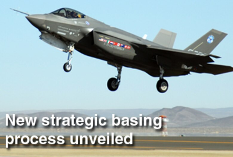 A new process has been developed to define how Air Force experts make basing decisions.  The process was put into practice in selecting potential training and operational sites for the F-35 Lightning II joint strike fighter.  (U.S. Air Force graphic)