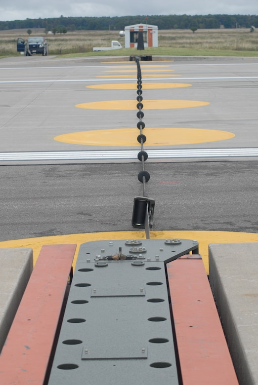 The Barrier Arresting Kit 12 cable is installed at the end of each runway is designed to stop an aircraft.