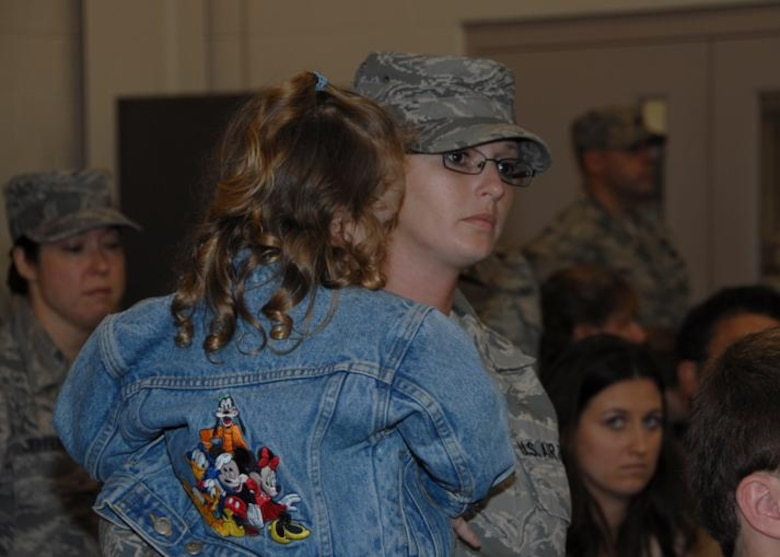 Tech. Sgt Erin Barr is welcomed home from her deployment to Kyrgyszstan