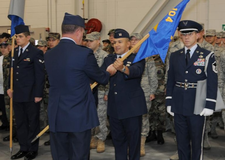 Capt. Ramon Diaz relinquishes command of the 104 SVF following the Air Force restructuring.