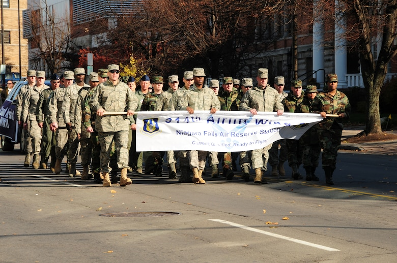 NIAGARA FALLS AIR RESERVE STATION, N.Y. - Approximately 50 members of the 914th Airlift Wing march in the inaugural Veterans Day parade in downtown Buffalo, N.Y. November 7, 2009.  (U.S. Air Force photo by Senior Airman Stephanie Clark)