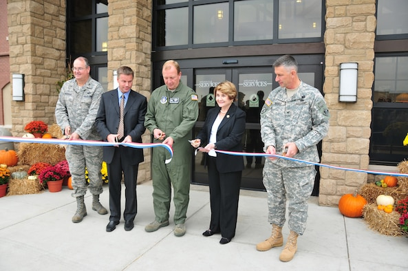 NIAGARA FALLS AIR RESERVE STATION, N.Y. - The Niagara Falls ARS officially opened a new $16 million Airman's lodging facility here October 9, 2009.  Pictured cutting the ceremonial ribbon are (left to right) Col. Timothy Vaughan, 107th Mission Support Group commander; Congressman Christopher Lee, NY 26th District; Col. Allan Swartzmiller, 914th Airlift Wing and installation commander; Congresswoman Louise Slaughter, NY 28th District; Col. John Boulé, Commander of U.S. Army Corp of Engineers NY District. (U.S. Air Force photo by Staff Sgt. Joseph McKee)