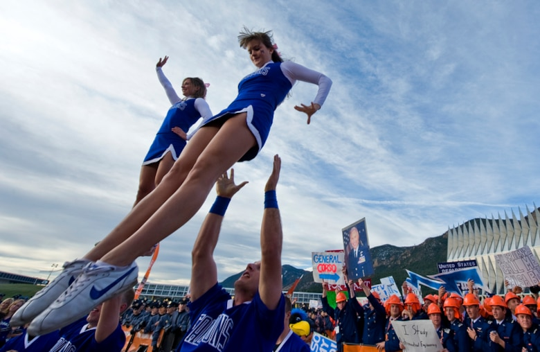 "U.S. Air Force Academy cheerleaders perform at the Terrazzo during ESPN's ""College GameDay"" broadcast from the Academy for the Air Force vs. Army football game Nov. 7, 2009, in Colorado Springs, Colo. (U.S. Air Force photo/Staff Sgt. Bennie J. Davis III)"