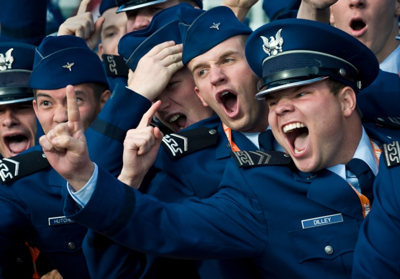 "Cadets from the U.S. Air Force Academy cheer for their school during a broadcast of ESPN's ""College GameDay"" from the U.S. Air Force Academy Nov. 7 before the Air Force vs. Army football game in Colorado Springs, Colo. (U.S. Air Force photo/Staff Sgt. Bennie J. Davis III)"