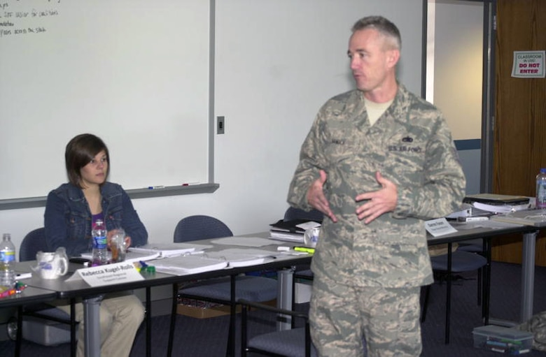Master Sgt. Curtis Hanock speaks to students enrolled in the National Guard's Substance Abuse Prevention Specialist Training Course at Jefferson Barracks. (Photo provided by Missouri National Guard)
