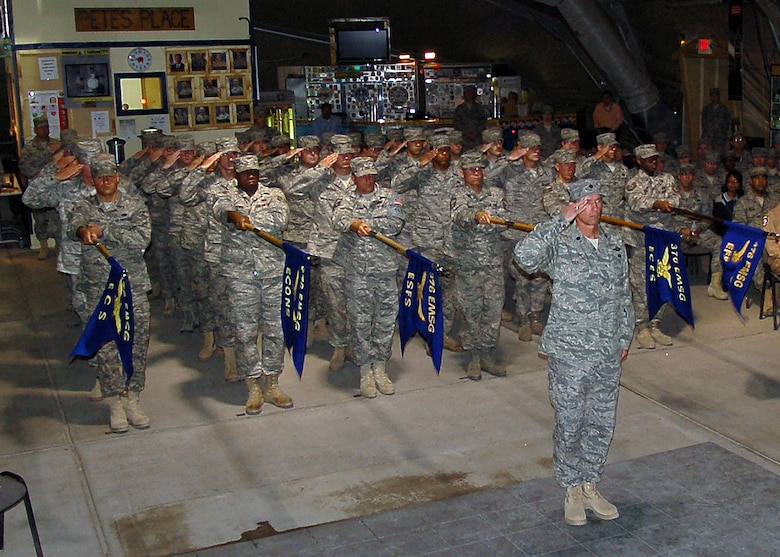 June 9, 2009, the Expeditionary Mission Support Group saluting the new EMSG commander after the EMSG change of command.