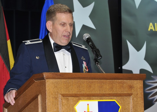 SPANGDAHLEM AIR BASE, Germany -- Col. John Morley, 52nd Maintenance Group commander, gives the opening speech during the Airman Leadership School class 10-1 graduation Nov. 5 at Club Eifel. After five weeks of education and training, each graduate was equipped with knowledge needed to assume responsibilities that come with being a supervisor in today's Air Force. (U.S. Air Force photo/Airman 1st Class Nick Wilson)