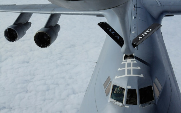 The boom makes connection with a C-130 during a refueling flight, Oct. 27, 2009, over the Black Sea. The 90th EARS supports the ongoing mission for Operations Iraqi Freedom and Enduring Freedom. (U.S. Air Force photo/Airman 1st Class Amber Ashcraft)