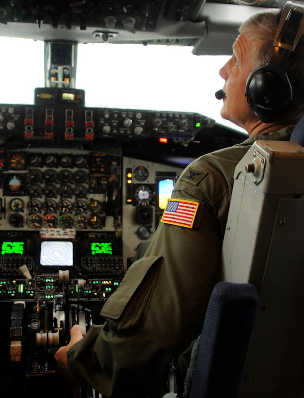Col. Cliff James, 90th Expeditionary Air Refueling Squadron KC-135 pilot, performs duties from the pre-flight checklist on a refueling sortie, Oct. 27, 2009 at Incirlik Air Base, Turkey.  The 90th EARS supports the ongoing mission for Operations Iraqi Freedom and Enduring Freedom. (U.S. Air Force photo/Airman 1st Class Amber Ashcraft)