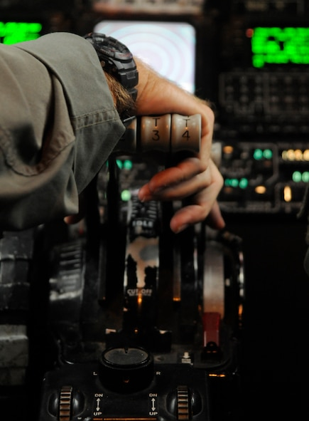Col. Steven Berryhill, 90th Expeditionary Air Refueling Squadron KC-135 pilot, prepares to push the throttle for takeoff, Oct. 27, 2009 at Incirlik Air Base Turkey. The 90th EARS supports the ongoing mission for Operations Iraqi Freedom and Enduring Freedom. (U.S. Air Force photo/Airman 1st Class Amber Ashcraft)