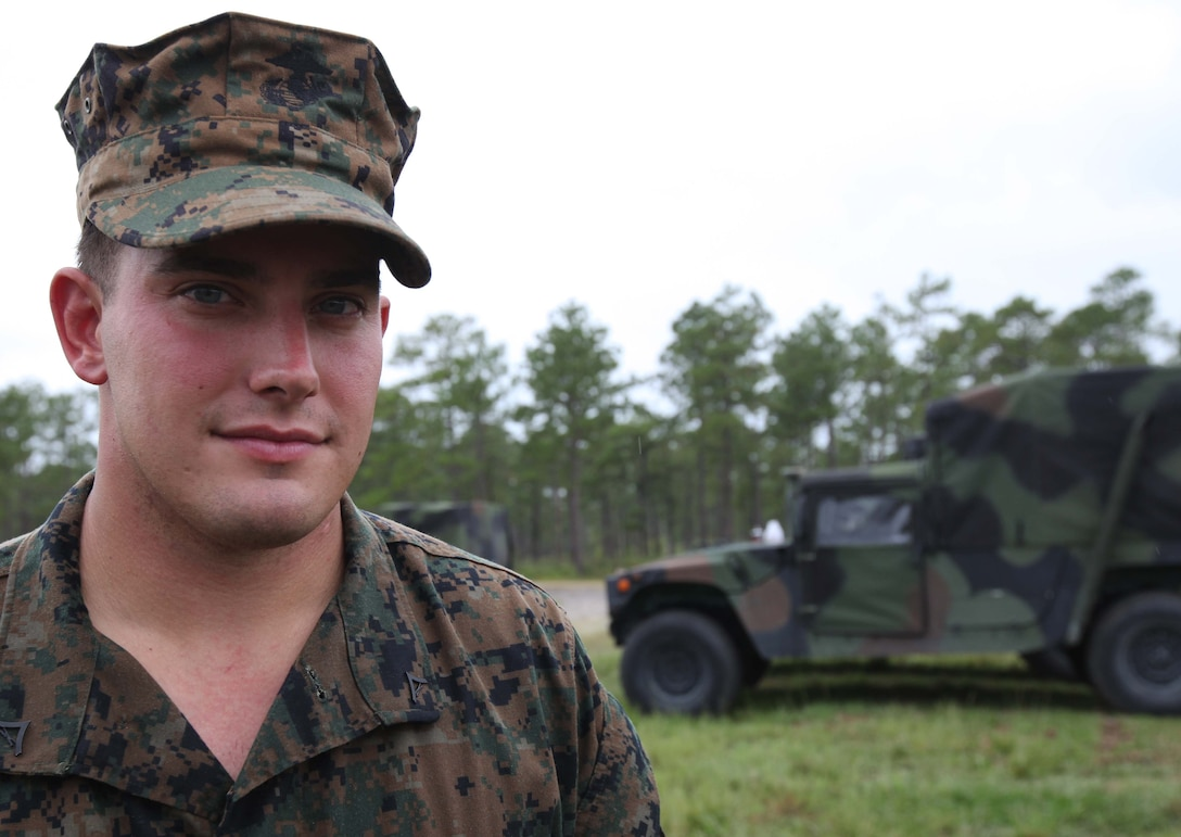Lance Cpl. Jeffrey W. Kilt, squad leader, 3rd Battalion, 8th Marine Regiment, 2nd Marine Division, takes a break from an Infantry Mortar Leaders Course aboard Marine Corps Base Camp Lejeune, N.C., Sept. 22, 2011. Kilt graduated with the second highest grade point average in a class of 36 Marines.