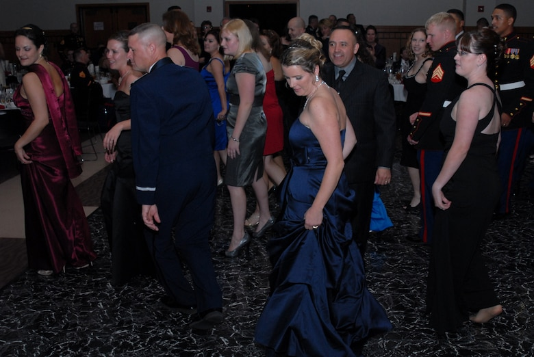 SAN ANGELO, Texas -- Marines and guests dance at the 234th Marine Corps Birthday Ball hosted by the Marine Corps Detachment, Goodfellow Air Force Base, Nov. 7, 2009. (U.S. Air Force photo/Staff Sgt. Laura R. McFarlane)