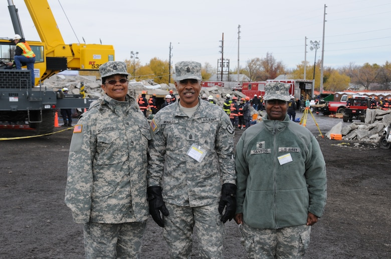 (Left to right) Master Sgt. Myrtle Roberts, Command Sgt. Maj. Pedro Morales and Maj. Eugenie Santos traveled 1900 miles from the Virgin Islands to participate in the recent Vigilant Guard exercise.