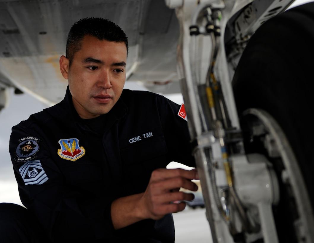 MOUNTAIN HOME AIR FORCE BASE, Idaho -- Republic of Singapore air force Master Sergeant Tan Thiam Chye Gene serves on the 428th Aircraft Maintenance Unit flightline crew. (U.S. Air Force photo by Airman 1st Class Renishia Richardson)