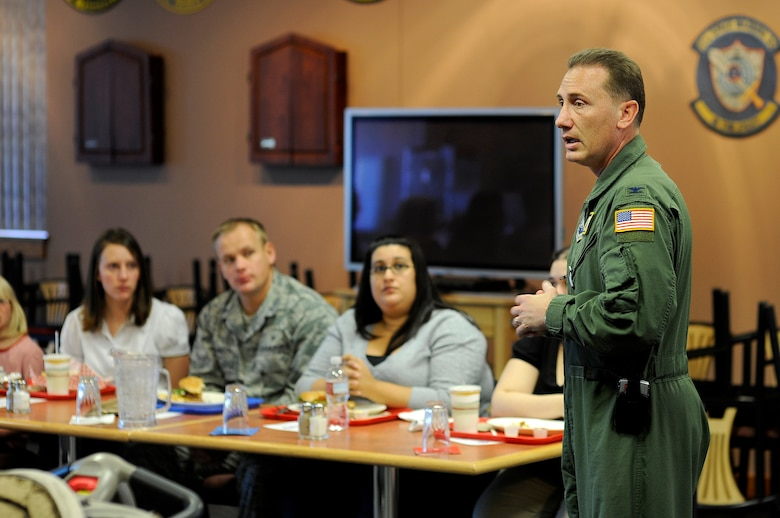 BUCKLEY AIR FORCE BASE, Colo. -- Col. Clint Crosier, 460th Space Wing Commander, speaks with members of Team Buckley and their spouses during lunch Nov. 6. (U.S. Air Force photo by Staff Sgt. Steve Czyz)
