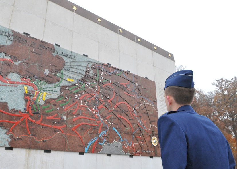 SPANGDAHLEM AIR BASE, Germany -- 2nd Lt. Richard Smyth, 52nd Force Support Squadron, looks at a map of military operations in Western Europe at the Luxembourg American Cemetery and Memorial in Luxembourg City Nov. 11. The cemetery is one of 14 American cemeteries established overseas after World War II and contains remains of more than 5,000 American servicemembers who died during the war. (U.S. Air Force photo/Airman 1st Class Nick Wilson)
