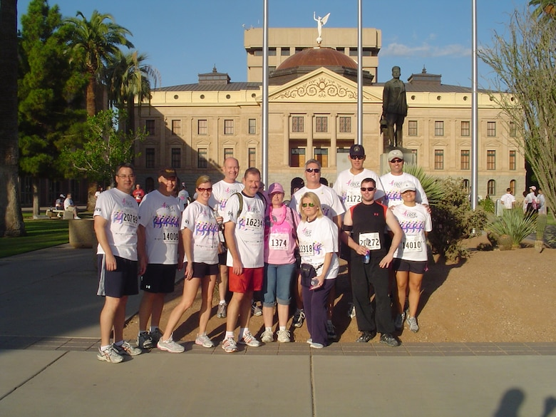 Members of the 16st Air Refueling Wing gather before the run in the Susan G. Komen for the Cure.