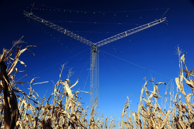 OFFUTT AIR FORCE BASE, Neb. - One of eight directional rotatable log periodic antennas maintained by the 55th Strategic Communications Squadron near Elkhorn, Neb., stands tall behind a cornfield Nov. 5. A dedicated crew of telecommunications specialists monitor the antennas, which support a wide variety of missions from executive levels of government to the National Aeronautics and Space Administration. U.S. Air Force photo by Josh Plueger