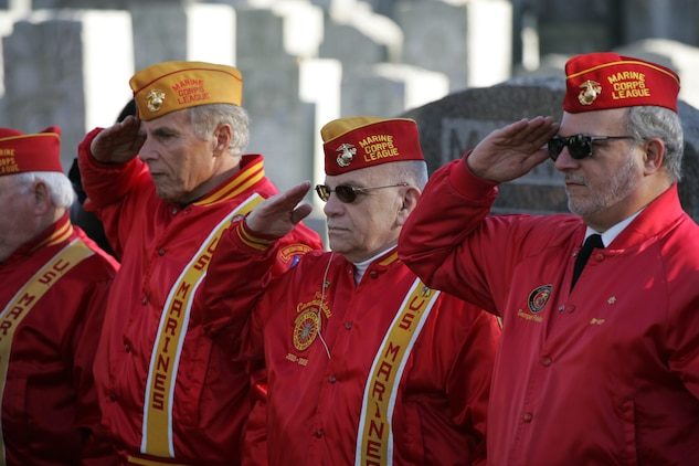 NEW YORK -- Members of the local Marine Corps League salute the casket of the formerly oldest living female Marine, Miriam Cohen, as she is brought to grave site her, Nov. 17, in Cypress Hills National Cemetery. The 101-year-old Cohen enlisted in the Marine Corps during World War II and again during the Korean War. She was the oldest female enlistee of her time at 35 years old and was part of the first female Marine recruit class. (Official Marine Corps photo by Sgt. Randall A. Clinton)