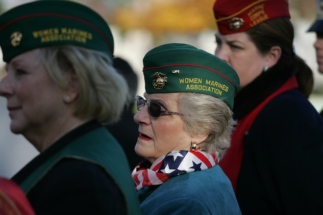 NEW YORK -- Roberta Eaton, Marine veteran and part of the Women Marines Association, watches the grave-side ceremony for the formerly oldest living female Marine, Miriam Cohen, who was buried Nov. 17, in Cypress Hills National Cemetery. The 101-year-old Cohen enlisted in the Marine Corps during World War II and again during the Korean War. She was the oldest female enlistee of her time at 35 years old and was part of the first female Marine recruit class. (Official Marine Corps photo by Sgt. Randall A. Clinton)