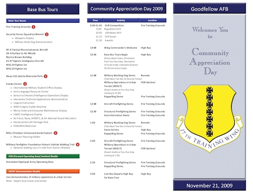 Goodfellow Community Appreciation Day map of tours and events, Nov. 21. (U.S. Air Force illustration by Gwen Davis)