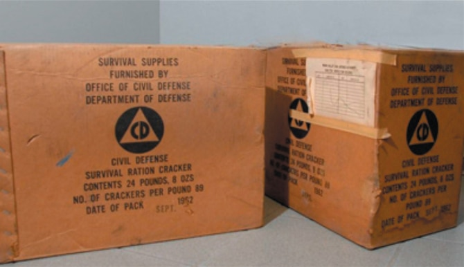 "DAYTON, Ohio (11/2009) -- These boxes of Civil Defense Fallout Shelter rations containing ""Survival Ration Crackers"" were found by a demolition contractor who was dismantling an old school in the Dayton area. (U.S. Air Force photo)"