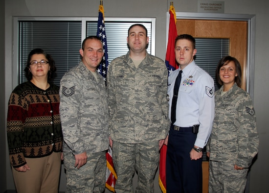 From left: Ms. Stephanie Parrish, Tech Sgt. Jeff Mathews, Master Sgt. Craig Gardner, Tech Sgt. Eric Martin and Staff Sgt. Jean Jackson. The 188th recruiting office earned the state award and Southeast Regional accolade for Outstanding Recruiting Office of the Year at the Arkansas Air National Guard Recruiting and Retention State Conference Oct. 29, 2009, in Mt. Ida, Ark. Martin earned the state and regional awards for Outstanding Rookie Recruiter of the Year. Gardner earned the state award for Outstanding Recruiting Office Supervisor of the Year. (U.S. Air Force photo by Senior Master Sgt. Dennis Brambl/188th Fighter Wing Public Affairs)