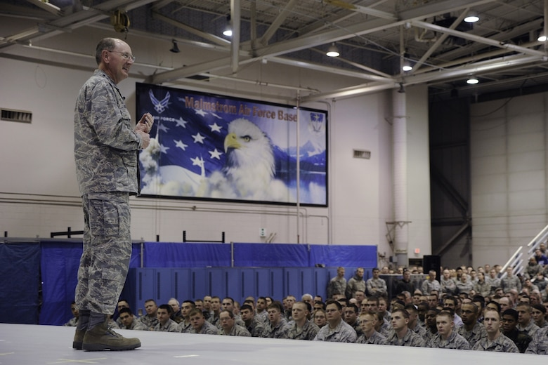 Gen. C. Robert Kehler, Air Force Space Command commander,  addresses members of the 341st Missile Wing during an all-call Nov. 12, 2009,  (U.S. Air Force photo by Beau Wade).