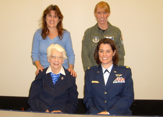 """WRIGHT-PATTERSON AIR FORCE BASE, Ohio - (Clockwise from top left) Lt. Col. Kathryn Staiger, 445th Airlift Wing Inspector General's office; Capt. Jackie Fleming, 89th Airlift Squadron; Maj. Nicole Malachowski, Deputy Chief of Staff at the U.S. General Services Administration; and World War II Women Airforce Service Pilots (WASP) Nadine Nagel. Colonel Staiger and Captain Fleming brought Ms. Nagel to the National Museum of the USAF to listen to Major Malachowski give a lecture on """"America's Women Aviators: from WASP to Thunderbirds, to the Future"""" Nov. 17.  Major Malachowski was assigned as a demonstration pilot, Thunderbird No. 3/Right Wing, with the U.S. Air Force Air Demonstration Squadron. As the historic first female pilot on any U.S. jet demonstration team, she performed before millions of spectators in 140 air shows across the United States and seven foreign countries. Her lecture was part of the museum's Wings & Things Guest Lecture Series. (U.S. Air Force photo/Ken LaRock)"""