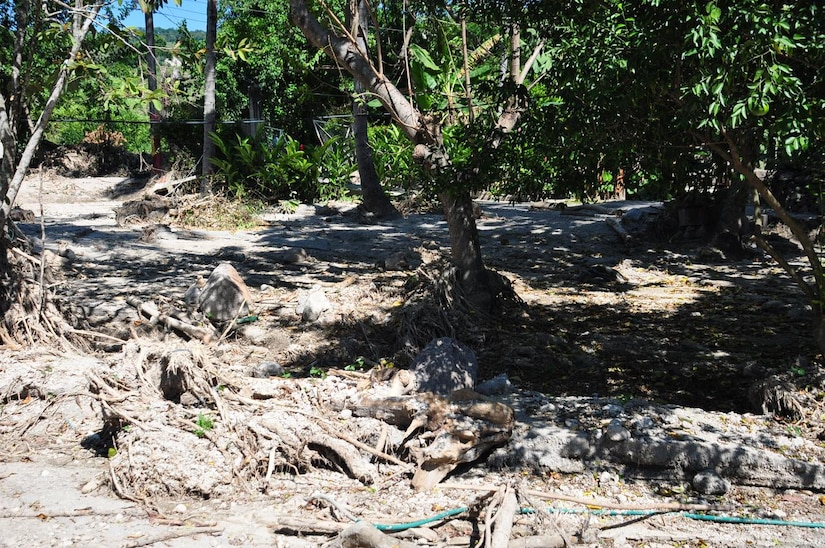 ILOPANGO, El Salvador - A photo of some of the damage Nov. 17 near the small village of El Sauce, El Salvador. A Civil Affairs team from Special Operations Command South, based out of Homestead, Florida, provided vital aid to the small village of El Sauce by dropping off more than 5,000 total pounds of food and water Nov. 17 and 18. The area was so badly damaged by the floods that villagers had to hand-carry the 5,000 pounds of food and water almost a quarter of a mile back to the village (U.S. Air Force photo/Staff Sgt. Chad Thompson).
