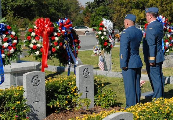 Maxwell and Gunter officials joined international officers Sunday at Montgomery's Oakwood Cemetery for the annual Service of Remembrance for British and French war dead. Eighty members of the Royal Air Force along with 20 French airmen are buried in Oakwood Cemetery. They died in training accidents while undergoing flight training at Maxwell and Gunter during World War II. Chief Warrant Officer Gabriel Chartier (left) and Lt. Col. Michael Raftier, both of the Canadian Air Force, salute the fallen. (U.S. Air Force photo/Roger Curry)