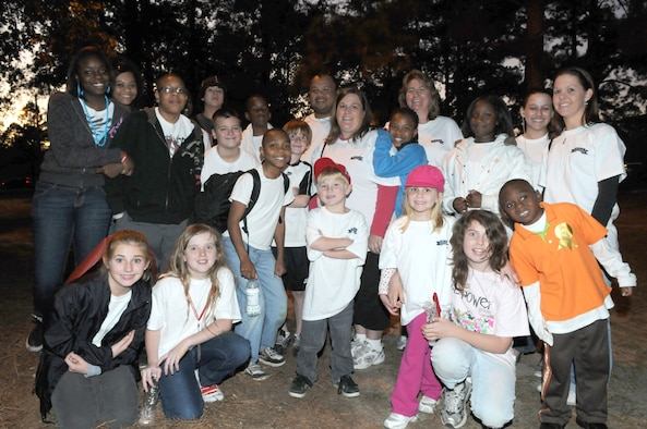 MOODY AIR FORCE BASE, Ga. -- Youth members who participated in the American Heart Association Heart Walk take a photo after finishing the walk. (Courtesy photo)