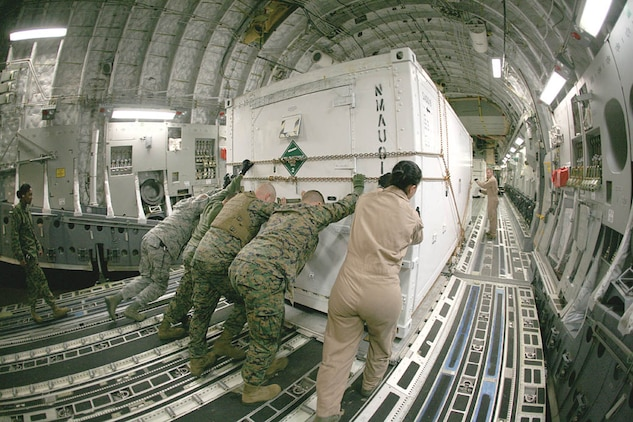 Marines from Marine Aviation Logistics Squadron 31 help the crew of a C-17 push a container of avionics equipment into place. The equipment was being shipped to Marine Aviation Logistics Squadron 40, who are deployed to Camp Leatherneck, Afghanistan.