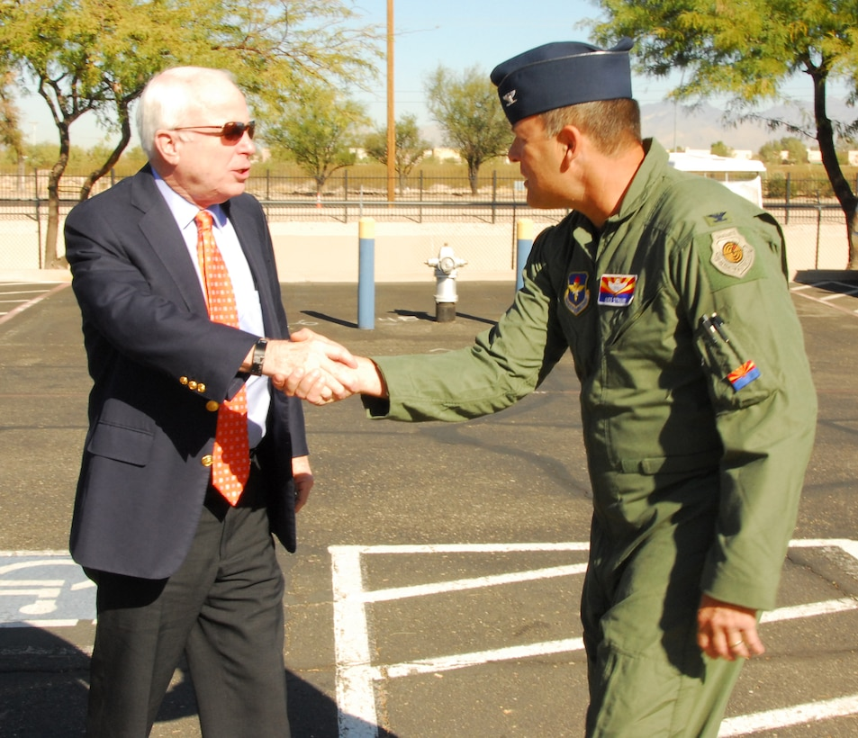 U.S. Senator John McCain greets Col. Greg Stroud, commander of the 162nd Fighter Wing, Arizona Air National Guard, Nov. 24. Senator McCain visited to show support for the wing and its future.  (U.S Air Force photo by Master Sgt. David Neve)