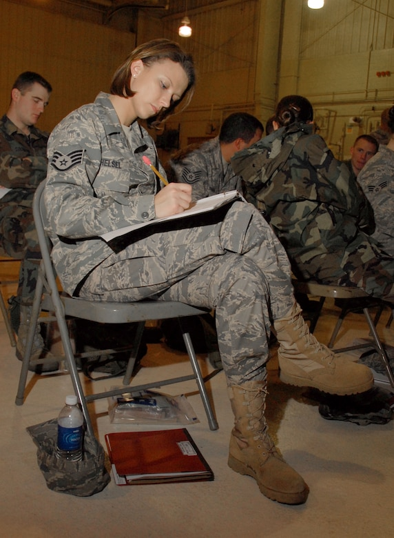 Staff. Sgt. Amber Helsel reviews paperwork in the briefing room at the 110th Fighter Wing, Battle Creek, Mi., Nov. 7, 2009. Helsel was participating in a mobility training exercise at the base. (U.S. Air Force photo by Tech. Sgt. David Eichaker/released)