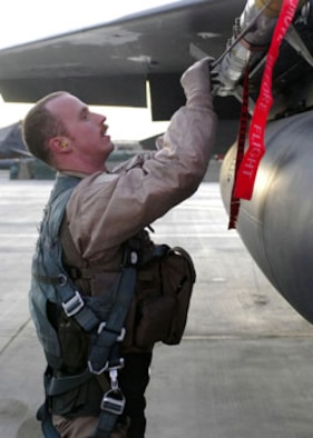 Capt. Mike Polidor, 335th Expeditionary Fighter Squadron pilot, preforms a preflight inspection on an F-15E Strick Eagle. Captain Polidor is deployed to Bagram Air Base, Afghanistan, from Seymour Johnson Air Force Base, N.C. (U.S. Air Force photo/Senior Airman Felicia Juenke)
