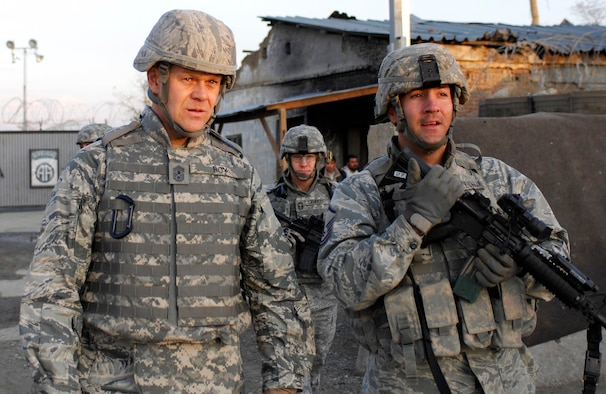 Chief Master Sgt. of the Air Force James A. Roy visits with with Master