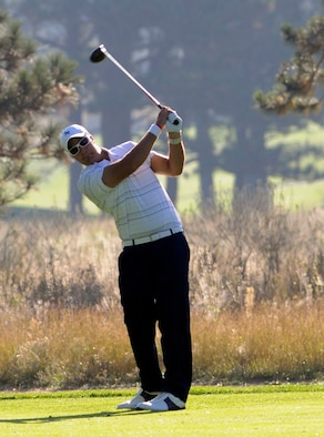 Air Force senior Tom Whitney, pictured here at the U.S. Air Force Academy's Eisenhower Golf Course Sept. 19, 2009, was named the Mountain West Conference Men's co-golfer of the month for September. Whitney tied for third place at the William H. Tucker Invitational and the Gene Miranda Falcon Invitational, shooting 6-under-par and 5-under-par respectively. (U.S. Air Force photo/J. Rachel Spencer)