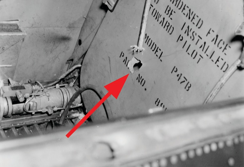 Most tactical fighter-bomber units flew the Thunderbolt, which was an excellent aircraft for the mission. One important feature of the P-47 was its ruggedness, due in part to armor plating in vital areas. These pieces of armor protected the pilot from the front and from behind. (U.S. Air Force photo)