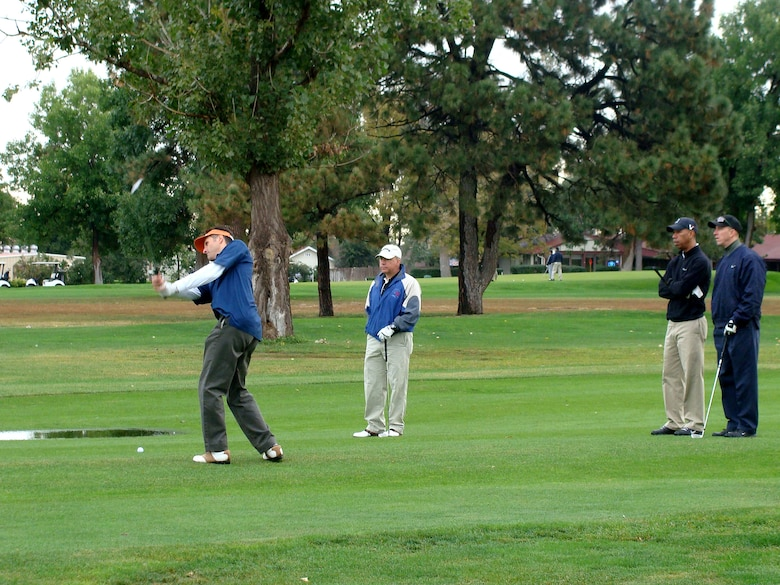 A participant takes a swing in Buckley's 2nd Panther Pride golf tournament. Sept. 25. (Courtesy photo)