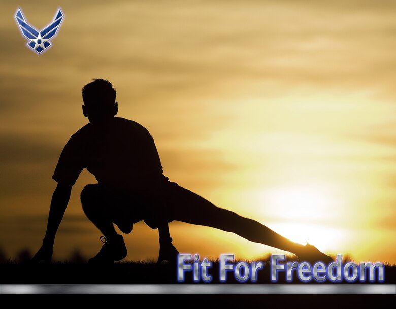 """Fit for Freedom"" Fitness poster, high resolution file available upon request. (U.S. Air Force graphic/Adamarie Lewis-Paige, photo by Abner Guzman)"