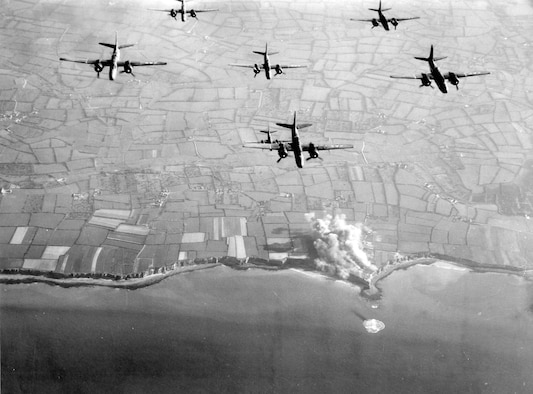 A-20 light bombers strike the Pointe du Hoc strongpoint in Normandy in May 1944
