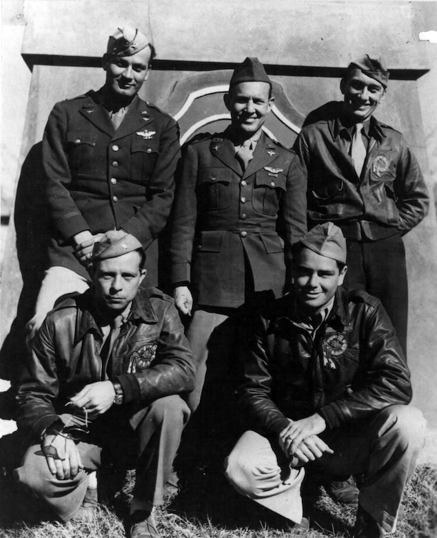 """Top row, from left: Col. Clinton D. """"Casey"""" Vincent, Lt. Col. John R. Alison (commander of the 75th Fighter Squadron), and Col. Bruce K. Holloway (commander of the 23rd Fighter Group, and later commander of the Strategic Air Command). Foreground, from left: Lt. Col. Albert T. """"Ajax"""" Baumler  and Lt. Col. Grattan """"Grant"""" Mahony (commander of the 76th Fighter Squadron) in China (1943). (U.S. Air Force photo)"""