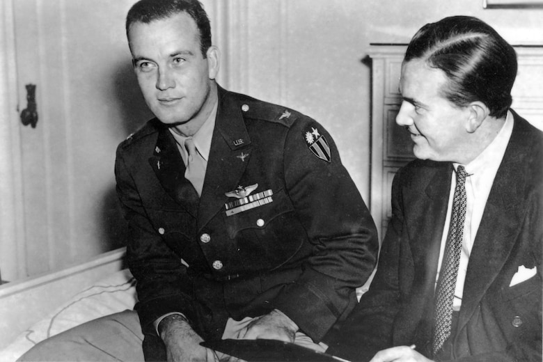 """Then-Col. Clinton D. """"Casey"""" Vincent and Milton Caniff in 1943. (U.S. Air Force photo)"""