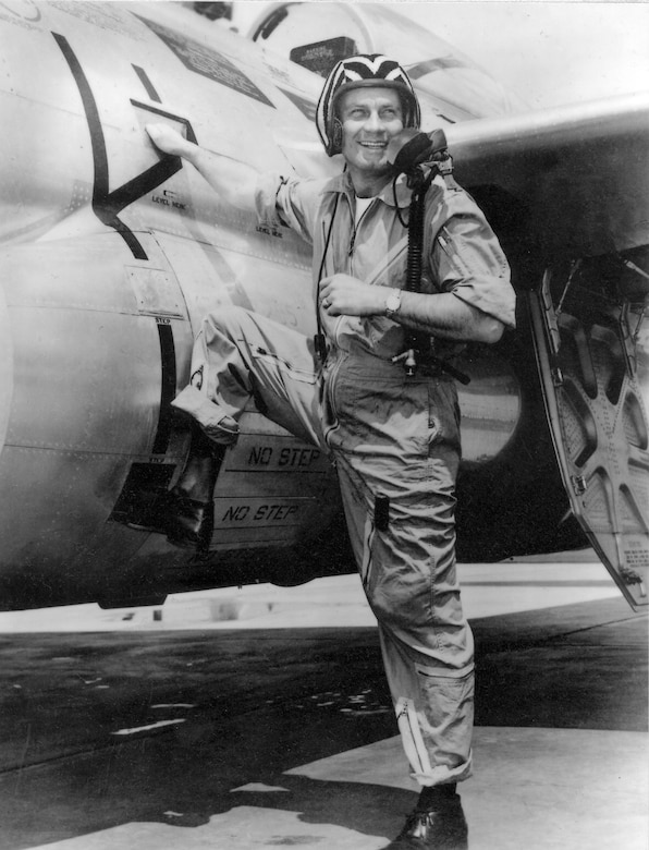 """Brig. Gen. Clinton D. """"Casey"""" Vincent with an F-89 Scorpion in the early 1950s. (U.S. Air Force photo)"""