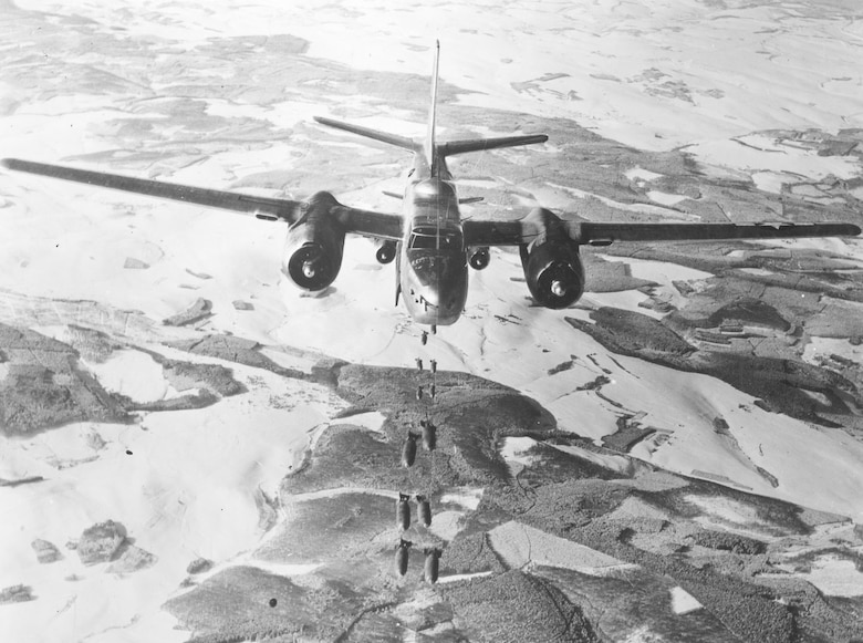 A-26 Invader attack aircraft dropping bombs on the Siegfried Line. (U.S. Air Force photo)